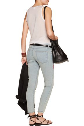 CURRENT/ELLIOTT The Stiletto embroidered mid-rise skinny jeans