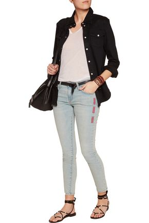 CURRENT/ELLIOTT Embroidered mid-rise skinny jeans