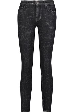 CURRENT/ELLIOTT Stiletto metallic leopard print mid-rise skinny jeans