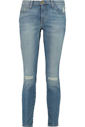 CURRENT/ELLIOTT The Stiletto distressed mid-rise skinny jeans