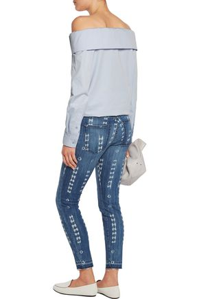 CURRENT/ELLIOTT The Stiletto two-tone mid-rise skinny jeans