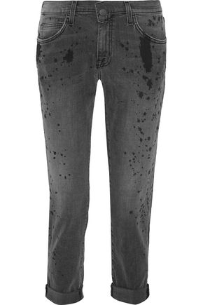 CURRENT/ELLIOTT The Fling paint-splattered mid-rise boyfriend jeans