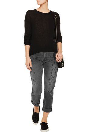 CURRENT/ELLIOTT The Fling paint-splattered mid-rise boyfriend jeans