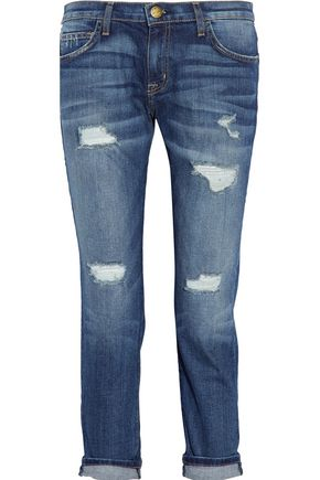 CURRENT/ELLIOTT The Fling distressed mid-rise boyfriend jeans