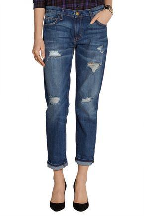 CURRENT/ELLIOTT The Fling distressed mid-rise boyfriend jeans