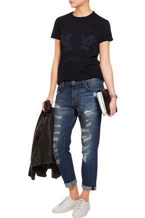 CURRENT/ELLIOTT Distressed low-rise boyfriend jeans