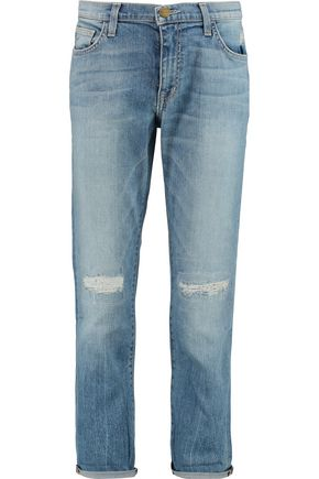 CURRENT/ELLIOTT Distressed mid-rise boyfriend jeans