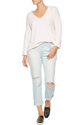 CURRENT/ELLIOTT The Fling cropped distressed boyfriend jeans