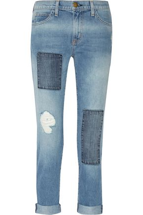 CURRENT/ELLIOTT Patchwork mid-rise boyfriend jeans