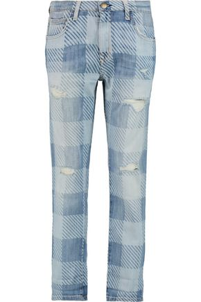 CURRENT/ELLIOTT The Fling plaid low-rise boyfriend jeans