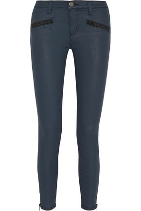 CURRENT/ELLIOTT The Soho Zip Stilletto coated mid-rise skinny jeans