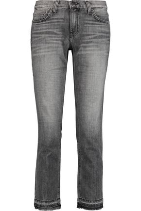 CURRENT/ELLIOTT The Cropped high-rise frayed straight-leg jeans