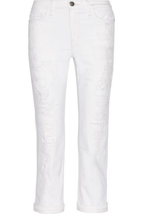 CURRENT/ELLIOTT The Highwaist Straight distressed mid-rise straight-leg jeans