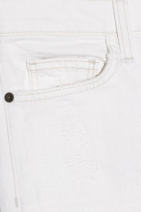 CURRENT/ELLIOTT The Highwaist Straight distressed mid-rise straight-leg jeans