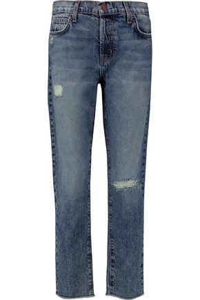CURRENT/ELLIOTT The Vintage Straight distressed mid-rise jeans