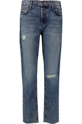 CURRENT/ELLIOTT The Vintage Straight distressed mid-rise jeans