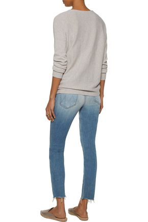 MOTHER Distressed mid-rise skinny jeans