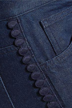 SEE BY CHLOÉ Mid-rise macramé lace-trimmed slim-leg jeans