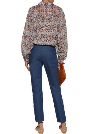 SEE BY CHLOÉ Mid-rise macramé lace-trimmed slim-leg jeans