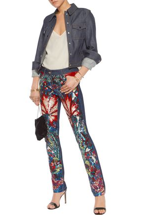 ROBERTO CAVALLI Mid-rise leather-trimmed sequined straight-leg jeans