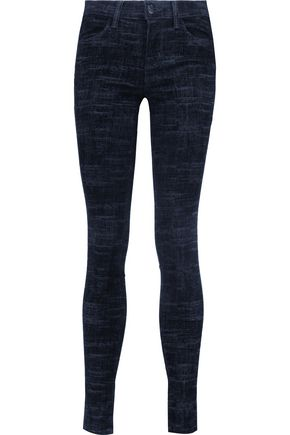 J BRAND Mid-rise burnout skinny jeans