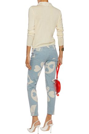 MOSCHINO Printed mid-rise slim-leg jeans