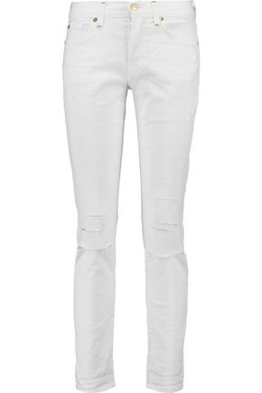 7 FOR ALL MANKIND Mid-rise distressed boyfriend jeans