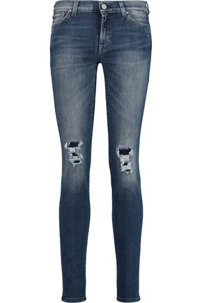 7 FOR ALL MANKIND The Skinny distressed mid-rise jeans