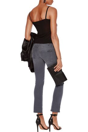 7 FOR ALL MANKIND Mid-rise whiskered straight-leg jeans