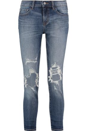 J BRAND Cropped distressed mid-rise straight-leg jeans