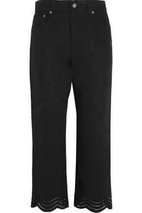 CHRISTOPHER KANE Mid-rise cropped open knit-trimmed straight-leg jeans