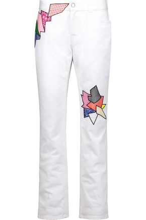 CHRISTOPHER KANE Mid-rise embroidered slim-leg jeans
