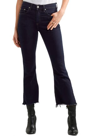 RAG & BONE Cropped frayed high-rise flared jeans