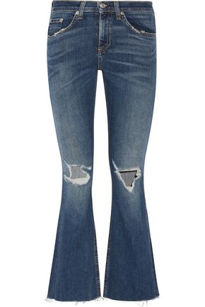 RAG & BONE/JEAN Distressed mid-rise flared jeans