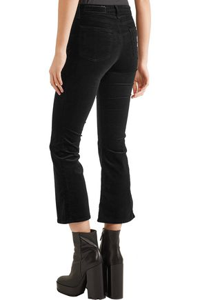 RAG & BONE Cropped velvet mid-rise flared jeans