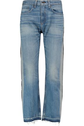 RAG & BONE Marilyn high-rise two-tone cropped straight-leg jeans
