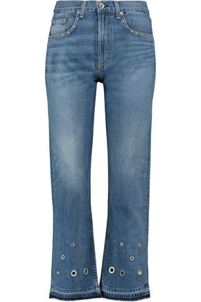 RAG & BONE/JEAN Embellished high-rise straight-leg jeans