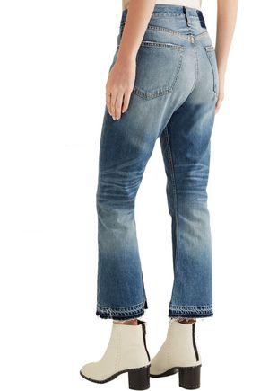 RAG & BONE Vintage Crop frayed high-rise flared jeans
