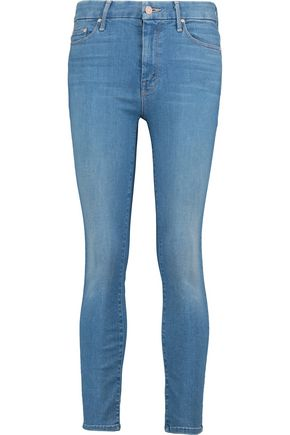 MOTHER | Mother Cropped Faded High-Rise Skinny Jeans | Goxip