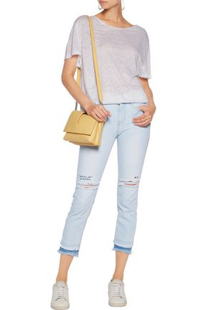 SJYP Embroidered distressed high-rise skinny jeans