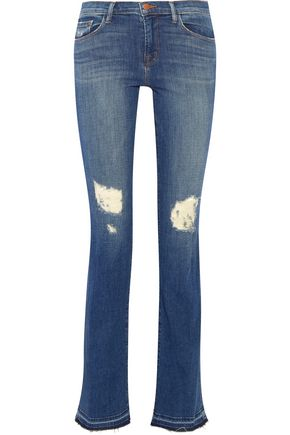 J BRAND Brya distressed mid-rise bootcut jeans