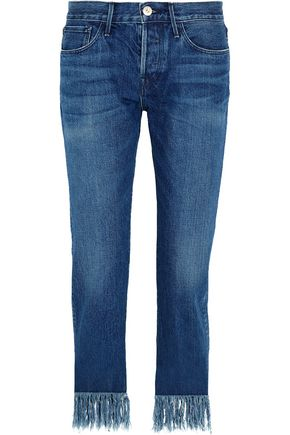 3x1 Mid-rise fringed straight-leg jeans