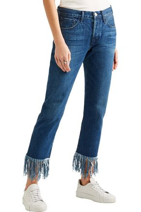 3x1 WM3 Crop Fringe distressed mid-rise straight-leg jeans