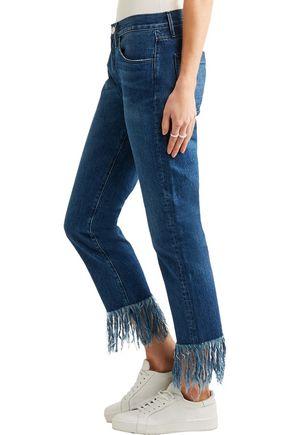 3x1 Mid-rise fringed straight-leg jeans
