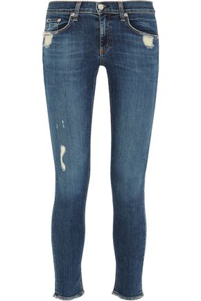 RAG & BONE | Rag & Bone Distressed Low-Rise Skinny Jeans | Goxip