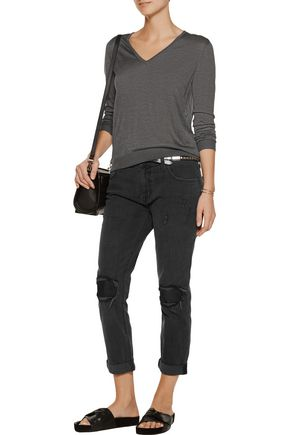 CURRENT/ELLIOTT The Fling leather-trimmed distressed mid-rise boyfriend jeans