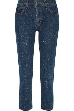 CURRENT/ELLIOTT The Vintage cropped mid-rise straight-leg jeans