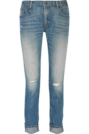 R13 Slouch Skinny distressed straight-leg jeans
