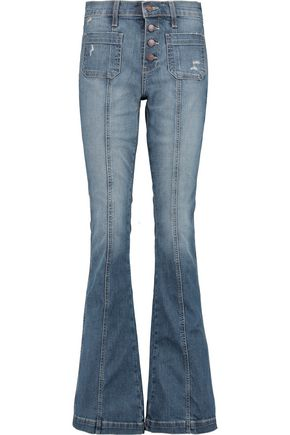 CURRENT/ELLIOTT Faded low-rise flared jeans
