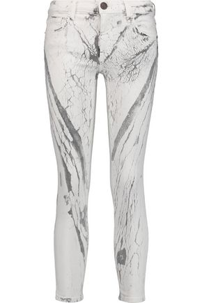 CURRENT/ELLIOTT The Stiletto mid-rise cropped printed skinny jeans